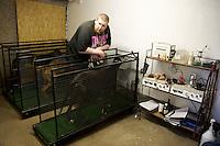 Kent, England, April 2007. Birch grove Kennel. Training room. Each Greyhound get 1/2 hour walk on dog Treadmill machine everyday .