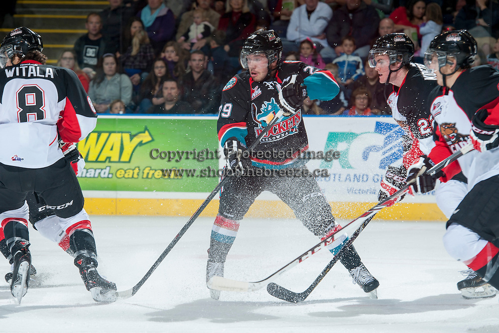 KELOWNA, CANADA - OCTOBER 19: Myles Bell #29 of the Kelowna Rockets stops on the ice against the Prince George Cougars on October 19, 2013 at Prospera Place in Kelowna, British Columbia, Canada.   (Photo by Marissa Baecker/Shoot the Breeze)  ***  Local Caption  ***