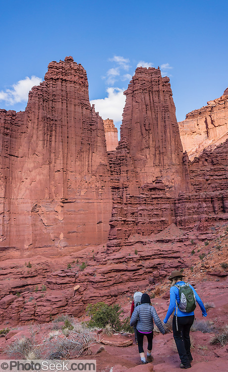 Fisher Towers Trail hiker, on BLM federal land near Moab