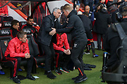 Manchester United Manager Jose Mourinho greets AFC Bournemouth manager Eddie Howe during the Premier League match between Bournemouth and Manchester United at the Vitality Stadium, Bournemouth, England on 3 November 2018.