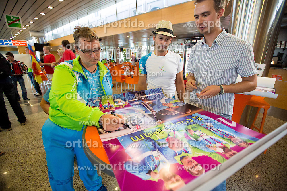 Damjan Pavlin and Ales Kosmac of Team Slovenia at arrival to Airport Joze Pucnik after the London 2012 Paralympic Games on September 10, 2012, in Brnik, Slovenia. (Photo by Vid Ponikvar / Sportida.com)