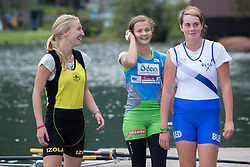Alja Skrlj (winner), Tjasa Pfajfar and Ana Verdnik in category 1x JWC (Pioneer single scull) during rowing at Slovenian National Championship and farewell of Iztok Cop, on September 22, 2012 at Lake Bled, Ljubljana Slovenia. (Photo By Matic Klansek Velej / Sportida)