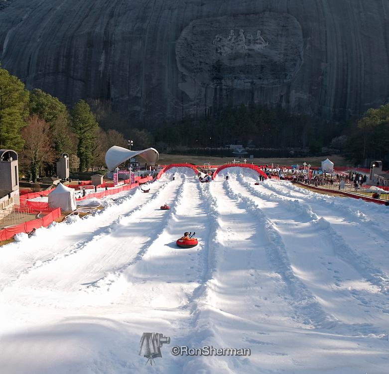 Snow Mountain at Stone Mountain, Atlanta GA.  Artificial snow attraction open from December to March.