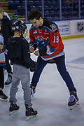 KELOWNA, CANADA - FEBRUARY 19:  Dillon Dube #19 of the Kelowna Rockets at the CIBC Family Skate with the Kelowna Rockets on February 19, 2018 at Prospera Place in Kelowna, British Columbia, Canada.  (Photo By Cindy Rogers/Nyasa Photography,  *** Local Caption ***