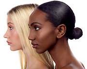 Profile beauty photos of a white and an African-American model.