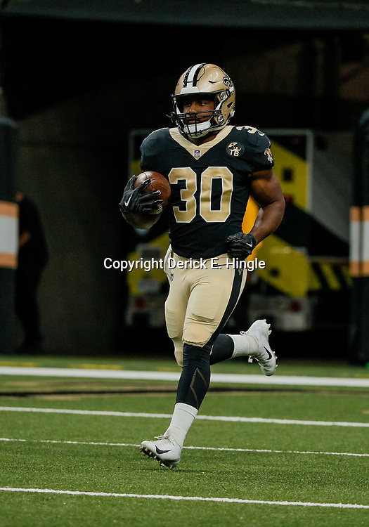 Aug 30, 2018; New Orleans, LA, USA; New Orleans Saints running back Boston Scott (30) before a preseason game against the Los Angeles Rams at the Mercedes-Benz Superdome. Mandatory Credit: Derick E. Hingle-USA TODAY Sports