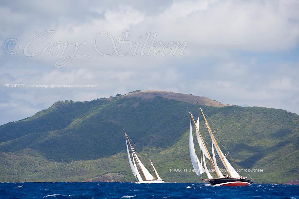 Mariella and Aschanti IV sailing in the 2010 Antigua Classic Yacht Regatta, Windward Race, day 4.