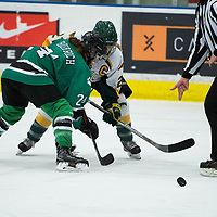 5th year forward Kylee Kupper (21) of the Regina Cougars in action during the Women's Hockey Homeopener on October 7 at Co-operators arena. Credit: Arthur Ward/Arthur Images