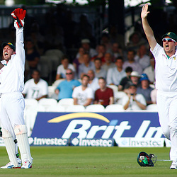 19/08/2012 London, England. South Africa's AB de Villiers and South Africa's Graeme Smith appeal for the wicket of England's Alastair Cook (not pictured) during the third Investec cricket international test match between England and South Africa, played at the Lords Cricket Ground: Mandatory credit: Mitchell Gunn