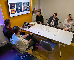 Pictured: L-r C harlie Bell, Phillip Lockwood-Holmes, Frances Irvine, Jamie Hepburn and intern Niamh Curran (all Whitespace) <br />