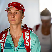 August 25, 2016, New Haven, Connecticut: <br /> Ekaterina Makarova of Russia and Petra Kvitova of the Czech Republic wait in the tunnel before a match during Day 7 of the 2016 Connecticut Open at the Yale University Tennis Center on Thursday, August  25, 2016 in New Haven, Connecticut. <br /> (Photo by Billie Weiss/Connecticut Open)
