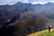 Neustift im Stubaital, Stubaier Hohenweg, Tirol, Austria, September 2008. On the other side of the valley we see the next day's trail leading up to the Schrimmennleder pass. From the Starkenburger Hutte we hike to the Franz Senn Hut following the contours of the landscape.  Hiking the Stubai High Trail from hut to hut in the southern Alps, we clear a mountain pass on a daily basis. Photo by Frits Meyst/Adventure4ever.com.