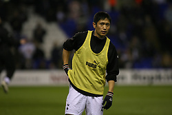 London, England - Wednesday, March 14, 2007: Tottenham Hotspur's Young-Pyo Lee warming up against SC Braga during the UEFA Cup match at White Hart Lane. (Pic by Chris Ratcliffe/Propaganda)