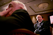 Newport Beach, California, USA, May 4th 2007: Actor and Senator Fred Thompson (R-Tennessee) at the Lincoln Club of Orange County's annual dinner. Senator Thompson was was the keynote speaker at the dinner. In the foreground, opinion writer Robert Novak.
