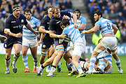 Jonny Gray tackes Nicholas Sanchez during the Autumn Test match between Scotland and Argentina at Murrayfield, Edinburgh, Scotland on 24 November 2018.