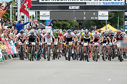 01.06.2014, Bullentaele, Albstadt, GER, UCI Mountain Bike World Cup, Cross Country Herren, im Bild Start der Herren // during Mens Cross Country Race of UCI Mountainbike Worldcup at the Bullentaele in Albstadt, Germany on 2014/06/01. EXPA Pictures © 2014, PhotoCredit: EXPA/ Eibner-Pressefoto/ Langer<br /> <br /> *****ATTENTION - OUT of GER*****