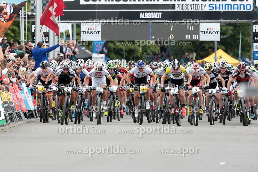 01.06.2014, Bullentaele, Albstadt, GER, UCI Mountain Bike World Cup, Cross Country Herren, im Bild Start der Herren // during Mens Cross Country Race of UCI Mountainbike Worldcup at the Bullentaele in Albstadt, Germany on 2014/06/01. EXPA Pictures © 2014, PhotoCredit: EXPA/ Eibner-Pressefoto/ Langer<br /> <br /> *****ATTENTION - OUT of GER*****