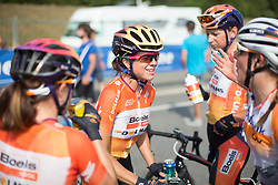 Evelyn Stevens (USA) of Boels-Dolmans Cycling Team celebrates finishing her final road race after the 121.5 km road race of the UCI Women's World Tour's 2016 Grand Prix Plouay women's road cycling race on August 27, 2016 in Plouay, France. (Photo by Balint Hamvas/Velofocus)