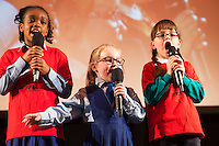 Michelle Ebanlben and Kianna Mulhall, Scoil Caitriona Renmore and Nina Wijas Merlin Woods sing Let it GO at the Galway Education centre's Junior First Lego League at the Radisson Blu hotel. Photo:Andrew Downes, xposure.