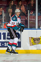 KELOWNA, CANADA - DECEMBER 29: Braydyn Chizen #22 of the Kelowna Rockets warms up against the Kamloops Blazers on December 29, 2018 at Prospera Place in Kelowna, British Columbia, Canada.  (Photo by Marissa Baecker/Shoot the Breeze)