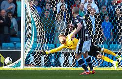 Millwall's Steve Morison shoots wide - Photo mandatory by-line: Robin White/JMP - Tel: Mobile: 07966 386802 15/03/2014 - SPORT - FOOTBALL - The Den - Millwall - Millwall v Charlton Athletic - Sky Bet Championship