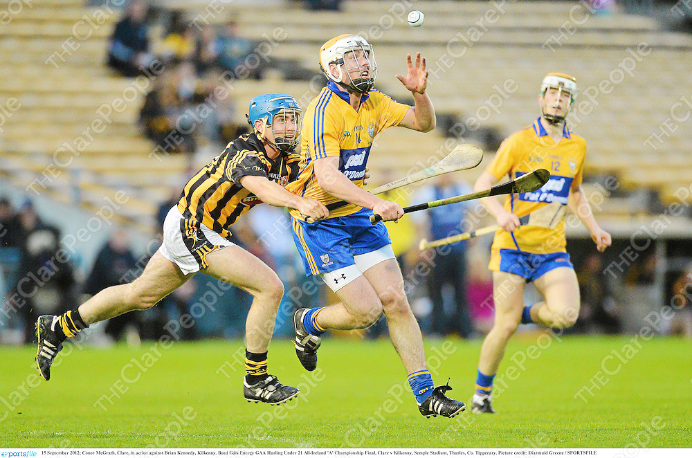 15 September 2012; Conor McGrath, Clare, in action against Brian Kennedy, Kilkenny. Bord Gáis Energy GAA Hurling Under 21 All-Ireland 'A' Championship Final, Clare v Kilkenny, Semple Stadium, Thurles, Co. Tipperary. Picture credit: Diarmuid Greene / SPORTSFILE