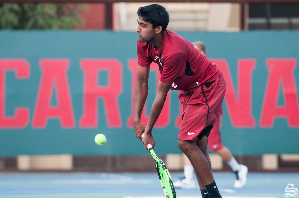 Fr. Sameer Kumar. Men's Tennis v. San Francisco 04/12/16. Photo by Rahim Ullah