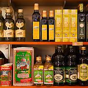 Olive oil selection, DeLaurenti Import food store, Pike Place Market, Seattle, Washington