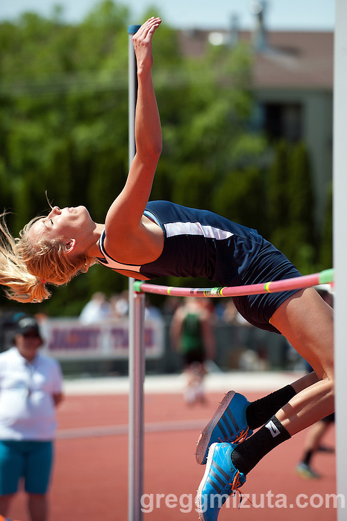 Skyline senior Tilar Clark attempts to high jump 5-4.00 during the Idaho 5A State Track & Field Championships at Dona Larsen Park, Boise, Idaho on May 17, 2014. Clark placed second with a height of 5-2.00 behind Eagle's Jenny Stevens (5-4.00)