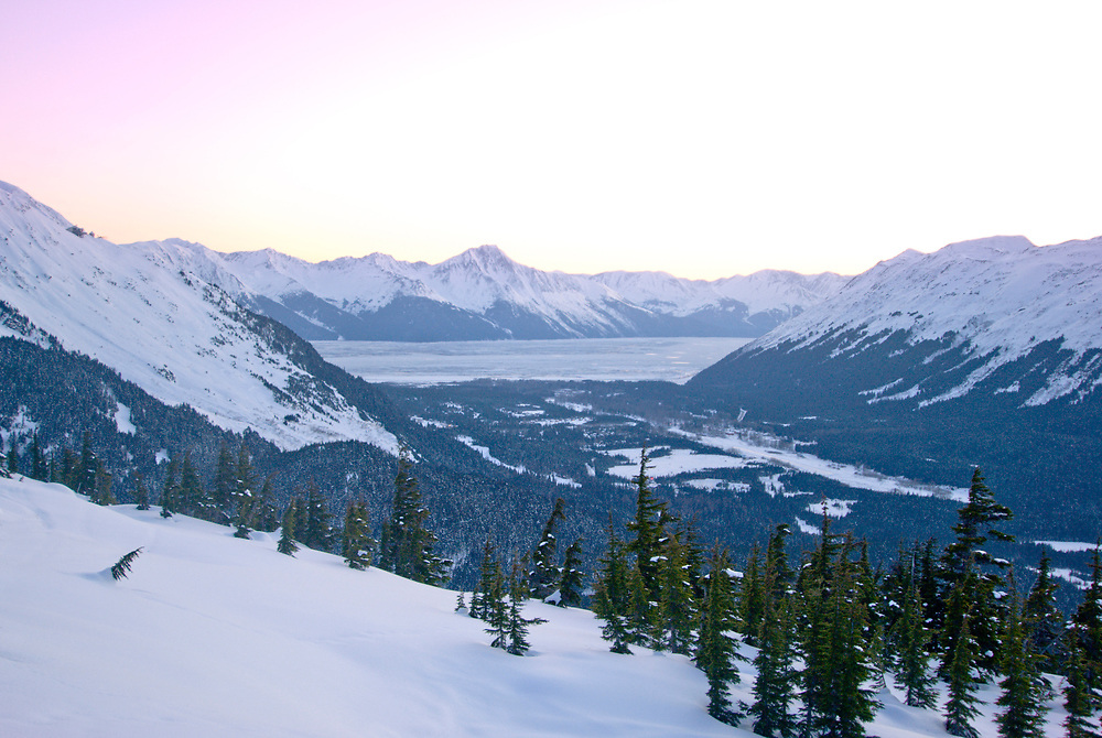 Girdwood, Alaska. View of Glacier Valley from Notch Mountain