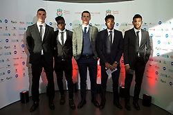 LIVERPOOL, ENGLAND - Tuesday, May 19, 2015: Liverpool youth team players Lloyd Jones, Sheyi Ojo, Jordan Williams, Jerome Sinclair and Kevin Stewart arrive on the red carpet for the Liverpool FC Players' Awards Dinner 2015 at the Liverpool Arena. (Pic by David Rawcliffe/Propaganda)