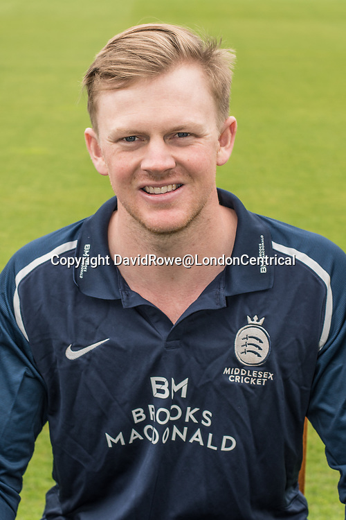 11 April 2018, London, UK.  George Scott of Middlesex County Cricket Club in the   blue Royal London one-day kit . David Rowe/ Alamy Live News
