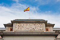 freeze on the front of the prado museum in madrid, spain