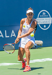 August 5, 2018 - San Jose, CA, U.S. - SAN JOSE, CA - AUGUST 05: Mihaela Buzarnescu (ROU) sets for a back hand return during the WTA Singles Championship at the Mubadala Silicon Valley Classic  at the San Jose State University Stadium Court in San Jose, CA  on Sunday, August 5, 2018. (Photo by Douglas Stringer/Icon Sportswire) (Credit Image: © Douglas Stringer/Icon SMI via ZUMA Press)