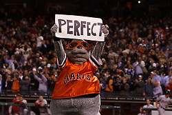 SAN FRANCISCO, CA - JUNE 13: The San Francisco Giants mascot Lou Seal holds up a perfect sign after the game against the Houston Astros at AT&T Park on June 13, 2012 in San Francisco, California. Matt Cain (not pictured) pitched a perfect game as the San Francisco Giants defeated the Houston Astros 10-0. (Photo by Jason O. Watson/Getty Images) *** Local Caption ***
