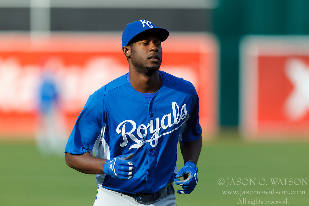 April 9, 2012; Oakland, CA, USA; Kansas City Royals center fielder Lorenzo Cain (6) warms up before the game against the Oakland Athletics at O.co Coliseum.  Oakland defeated Kansas City 1-0. Mandatory Credit: Jason O. Watson-US PRESSWIRE