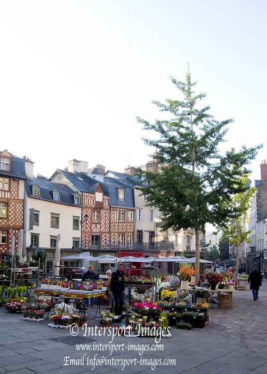 Rennes, FRANCE, Rennes, Saturday Morning Market, Flower stalls and displays, Brittany.  Saturday  26/09/2009   [Mandatory Credit Peter Spurrier Intersport Images] Street Photo.