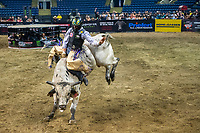 KELOWNA, CANADA - JULY 7:  Lachlan Richardson, 25,  of Gresford, NSW, Australia, rides Finning Majic Shivers from the Flying Four Bucking Bulls during the championship round of the Monster Energy Pro Bull Riding tour on July 7, 2018 at Prospera Place in Kelowna, British Columbia, Canada.  (Photo by Marissa Baecker/Shoot the Breeze)  *** Local Caption ***