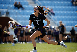 CHAPEL HILL, NC - MARCH 02: Lauren Gilbert #1 of the Northwestern Wildcats during a game against the North Carolina Tar Heels on March 02, 2019 at the UNC Lacrosse and Soccer Stadium in Chapel Hill, North Carolina. North Carolina won 11-21. (Photo by Peyton Williams/US Lacrosse)