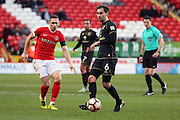 Milton Keynes Dons midfielder Edward (Ed) Upson (6) passes the ball away from Charlton Athletic midfielder Andrew Crofts (8) during the The FA Cup match between Charlton Athletic and Milton Keynes Dons at The Valley, London, England on 3 December 2016. Photo by Matthew Redman.