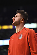 Oct 11, 2017; Phoenix, AZ, USA; Portland Trail Blazers center Jusuf Nurkic (27) looks on from the bench during the first half of the game against the Phoenix Suns at Talking Stick Resort Arena. Mandatory Credit: Jennifer Stewart-USA TODAY Sports