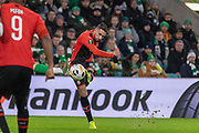 Romain Del Castillo (22) of Rennes gets a shot off during the Europa League match between Celtic and Rennes at Celtic Park, Glasgow, Scotland on 28 November 2019.