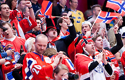 17.05.2012, Ericsson Globe, Stockholm, SWE, IIHF, Eishockey WM, Viertelfinale, Russland (RUS) vs Norwegen (NOR), im Bild Norweigan fans // during the IIHF Icehockey World Championship Quarter Final Game between Russia (RUS) and Norway (NOR) at the Ericsson Globe, Stockholm, Sweden on 2012/05/17. EXPA Pictures © 2012, PhotoCredit: EXPA/ PicAgency Skycam/ Johan Andersson..***** ATTENTION - OUT OF SWE *****