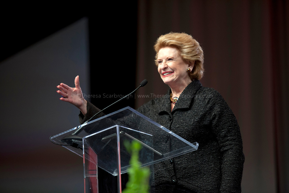 Detroit, Michigan, USA. 27th Oct, 2017. Senator Debbie Stabenow speaks during the Women's Convention held at the Cobo Center, Detroit Michigan, Friday, October 27, 2017