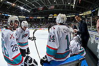 KELOWNA, CANADA - APRIL 4: Brad Ralph, head coach of the Kelowna Rockets speaks to players during the first period time out against the Kamloops Blazers on April 4, 2016 at Prospera Place in Kelowna, British Columbia, Canada.  (Photo by Marissa Baecker/Shoot the Breeze)  *** Local Caption *** Brad Ralph; Rourke Chartier; Cole Linaker; Calvin Thurkauf;