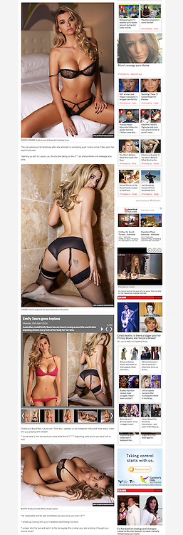 Emily Sears is featured in the Daily Star online UK on 15 April 2016.<br /> <br /> Images from our shoots 'Emily Sears :: at home' [https://www.apixsyndication.com/gallery/Emily-Sears-at-home/G0000oDuGtk6FHVU/C0000x.xYkWuzQEI] and 'Emily Sears :: lingerie' [https://www.apixsyndication.com/gallery/Emily-Sears-lingerie/G00005lE7haRPONY/C0000AY_QklJgNbM] which are both available for worldwide use with photographer approval.