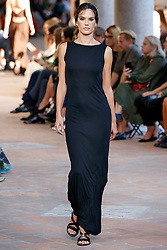 Model Alessandra Ambrosio walks on the runway during the Alberta Ferretti Fashion Show during Milan Fashion Week Spring Summer 2018 held in Milan, Italy on September 20, 2017. (Photo by Jonas Gustavsson/Sipa USA)