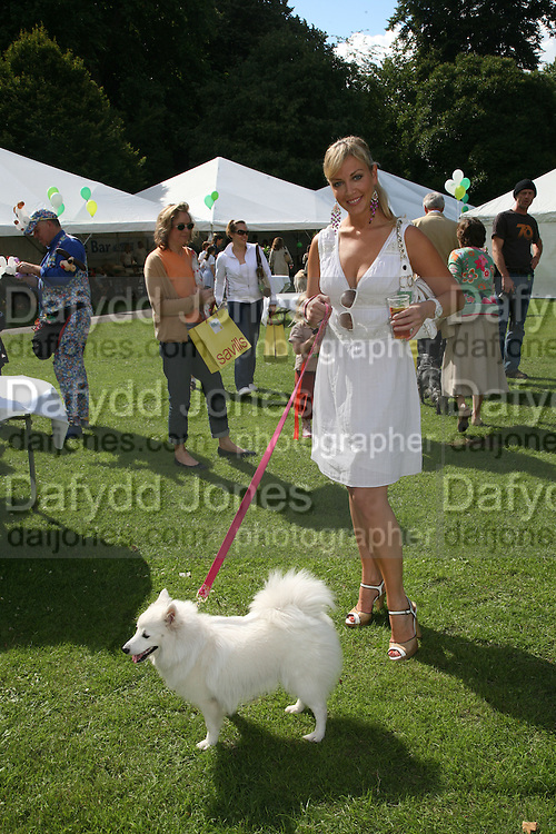 LIZ FULLER AND AMBER BUTTERCUP,  Sixth Macmillan Dog Day for Macmillan Cancer Support, Supported by Savills. Royal Hospital Chelsea, London, SW3. 3 July 2007. -DO NOT ARCHIVE-© Copyright Photograph by Dafydd Jones. 248 Clapham Rd. London SW9 0PZ. Tel 0207 820 0771. www.dafjones.com.