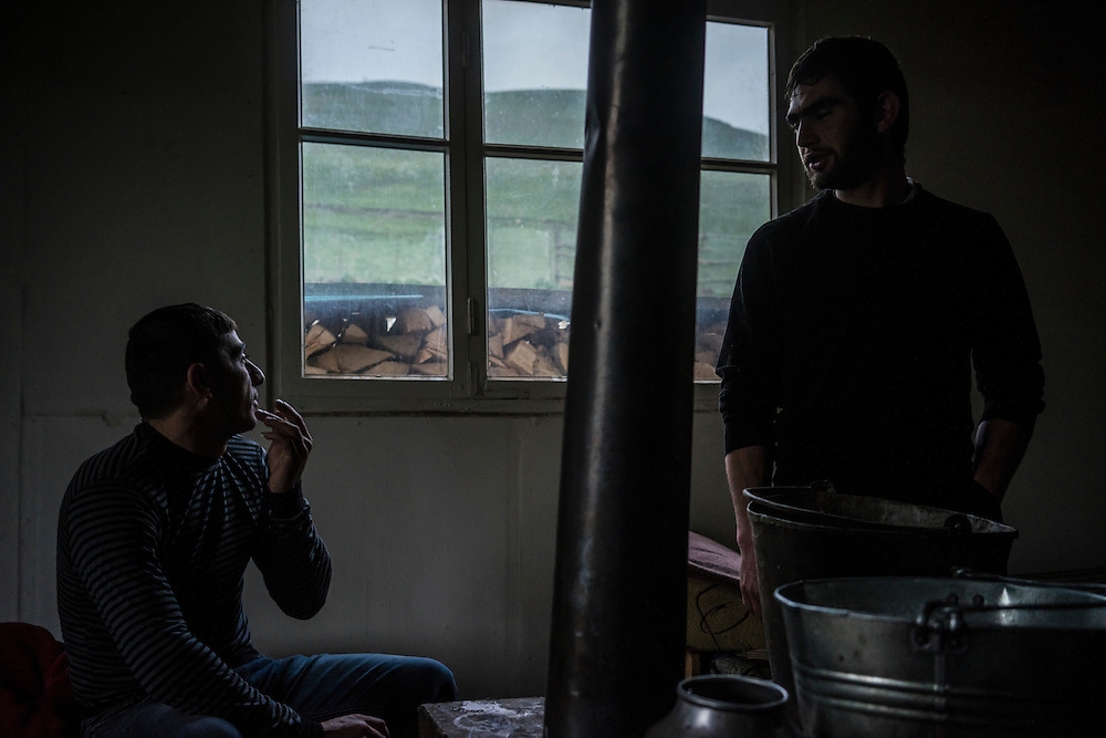 VANK, NAGORNO-KARABAKH - APRIL 22: Arso Poghosyan (L), 34, and Gevorg Akulyan, 24, at a horse farm in the mountains where they help care for a herd of Karabakh horses, a breed which was originally developed in the region but now faces extinction, on April 22, 2015 near Vank, Nagorno-Karabakh. Since signing a ceasefire in a war with Azerbaijan in 1994, Nagorno-Karabakh, officially part of Azerbaijan, has functioned as a self-declared independent republic and de facto part of Armenia, with hostilities along the line of contact between Nagorno-Karabakh and Azerbaijan occasionally flaring up and causing casualties. (Photo by Brendan Hoffman/Getty Images) *** Local Caption *** Gevorg Akulyan;Arso Poghosyan