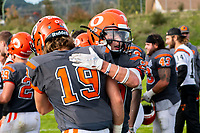 KELOWNA, BC - OCTOBER 6: Cole Stregger #19 is congratulated by Tyler Going #20 of Okanagan Sun on the win against the VI Raiders at the Apple Bowl on October 6, 2019 in Kelowna, Canada. (Photo by Marissa Baecker/Shoot the Breeze)